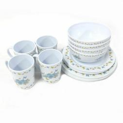 16 piece butterfly floral melamine dinnerware set