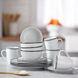 16 piece cafe stripe kitchen dinnerware set