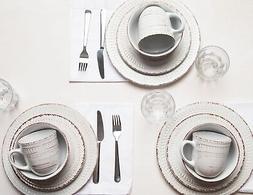 16 PIECE COSENZA WHITE DINNERWARE SET by HOME ESSENTIALS NIB