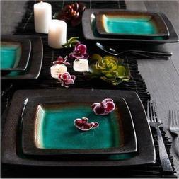 16-Piece Dinnerware Set Ceramic Ocean Turquoise Crackle Glaz