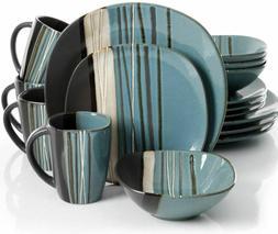 16 Piece Dinnerware Set Dinner Home Kitchen Stoneware Plates