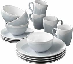 16-Piece Dinnerware Set Durable High-Quality Stoneware Blue/