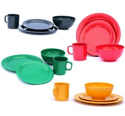 16 Piece Dinnerware Set for 4 people, in 4 Color Sets with 4