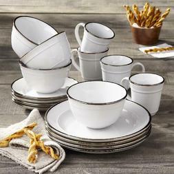 16 Piece Dinnerware Set Home Kitchen Stoneware Plates Dishes