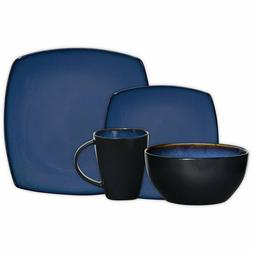 16 Piece Dinnerware Set in Blue; Includes 4 Dinner Plates; 4