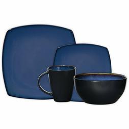 16 Piece Dinnerware Set in Blue; Includes 4 Dinner Plates; 4