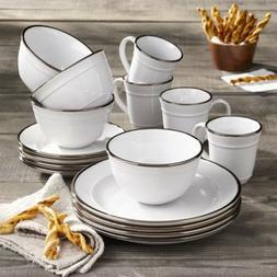 16 Piece Dinnerware Set Kitchen Home Dinner Stoneware Plates