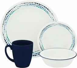 16 Piece Dinnerware Set Stackable Chip Resistant Glass Dishe