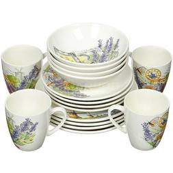 16 Piece Faience Dinnerware Set for 4 persons Lavender Print