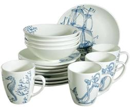 16 Piece Faience Dinnerware Set for 4 persons w/ Nautical Ar