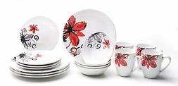 16-Piece Dinnerware Set for 4, Stoneware Dishes Red & White