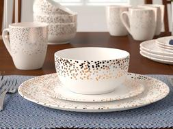 Godinger Silver Art Co 16-Piece Gold and Silver Dots Dinnerw