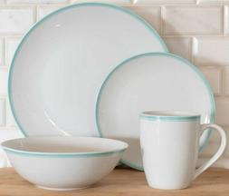 10 Strawberry Street 16-Piece Green Band Coupe Dinnerware Se