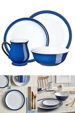 Denby 16 Piece Imperial Blue Dinnerware Set Handcrafted by A