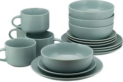 10 Strawberry Street 16-Piece Matte Mineral Blue Dinnerware