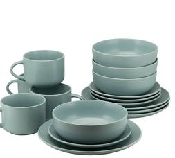 10 Strawberry Street 16-Piece Mineral Blue Coupe Dinnerware