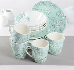 16 Piece Porcelain Dinnerware Set for 4 persons in Tiffany B