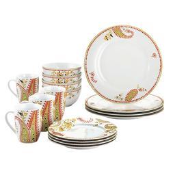 16-Piece Porcelain Dinnerware Set Microwave Dishwash Free Sh