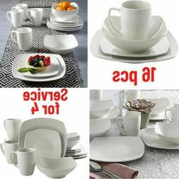 Dinnerware Set for 4 White 16 Piece Dish Dinner Plates Squar