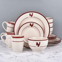 16 piece rooster round ceramic dinnerware set