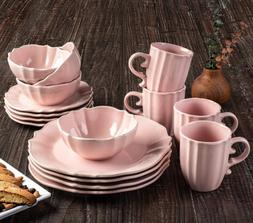 "16 Piece Round Dinnerware Set 11.5x11.5"" Pink"