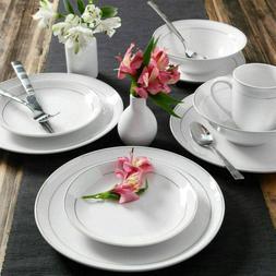 16 Piece Round Dinnerware Set Kitchen White Dining Plates Di