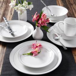 16 Piece Round Dinnerware Set Kitchen White Dining Plates Di