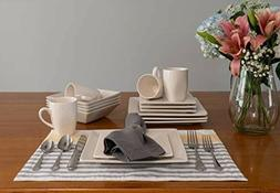 10 Strawberry Street 16 Piece Square Dinnerware Set, Cream W