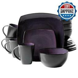 16-Piece Square Dinnerware Set Dinner Plates Bowls Mugs Kitc