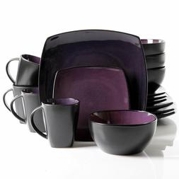 16-Piece Square Reactive Glaze Dinnerware Set, Purple