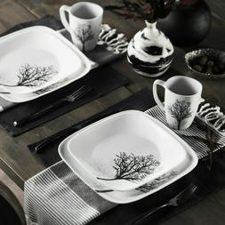 16 Piece Corelle Square Timber Shadows Dinnerware Set - New