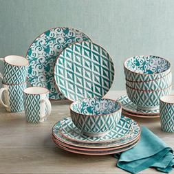 16-Piece Teal Mix Dinnerware Set Porcelain Abstract Pattern