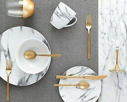 16Pc Coupe Marble Kitchen Dinnerware Set, Dishes, Bowls, Mug