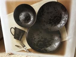 16pc Cuisinart Fleur Noir Black Floral Dinnerware Plates Bow
