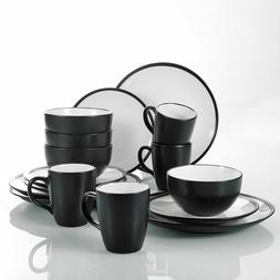 16pcs Dinner Set Two Tone Plates Bowls Mugs Stylish Kitchen Dinnerware Crockery