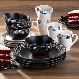 16Pcs Round Dinnerware Set Black/White Plates Bowles Mugs St