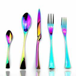 18/10 Stainless Steel Dinnerware Set Shiny Rainbow Flatware
