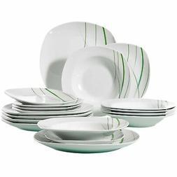 VEWEET 18-Piece Ceramic Stoneware Dinnerware Set Ivory White