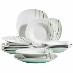 18-Piece Ceramic Stoneware Dinnerware Set Ivory White Plate