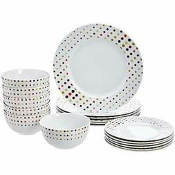 AmazonBasics 18-Piece Dinnerware Set - Dots, Service for 6