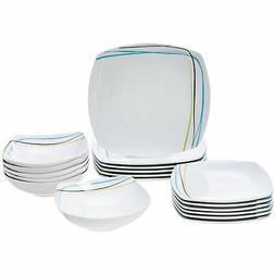 AmazonBasics 18-Piece Dinnerware Set - Soft Lines, Service f