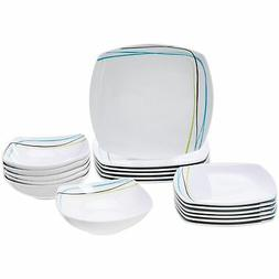 18 piece dinnerware set soft lines service