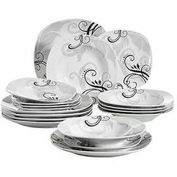 18-Piece Dinnerware Sets Porcelain Square Decal Patterns Kit
