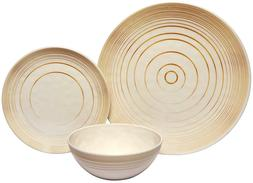 Melange 18-Piece Melamine Dinnerware Set Gold Timber Shatter