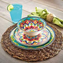 18-Piece Melamine Dinnerware Set Indoor Outdoor Service For