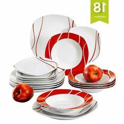 18 piece porcelain dinnerware set for 6