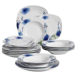 VEWEET 18-Piece Porcelain Dinnerware Set Royal Purple Flower