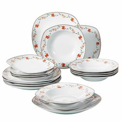 18-Piece Porcelain Square Dinnerware Set Decal Patterns Kitc