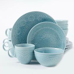 16-Piece Dinnerware Set High-Quality Ceramic Beautiful Aqua
