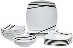 18-Piece Square Kitchen Dinnerware Set Dishes Bowls Service
